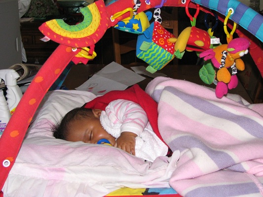Baby asleep at a WTSA partner haven