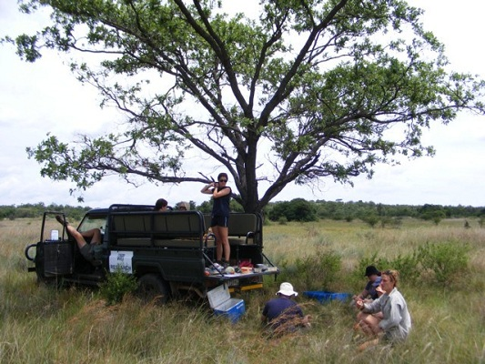 Volunteers take a lunch break in the field